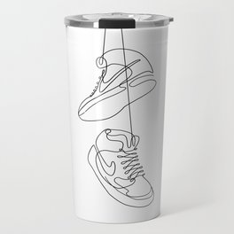 Sneakers simple minimal one line art, hanging shoes branded shoes  Travel Mug