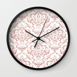 Rose Gold Glitter and White Damask Wall Clock