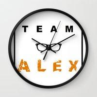 alex vause Wall Clocks featuring Team Alex by madraccoon