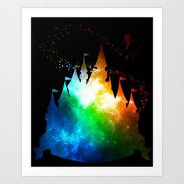Rainbow Galaxy Castle Art Print