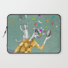 the imaginative robot clown and his cat friend Laptop Sleeve