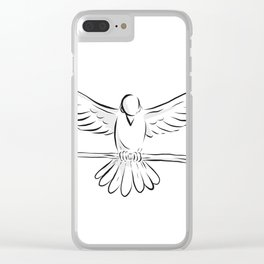 Soaring Dove Clutching Staff Front Drawing Clear iPhone Case