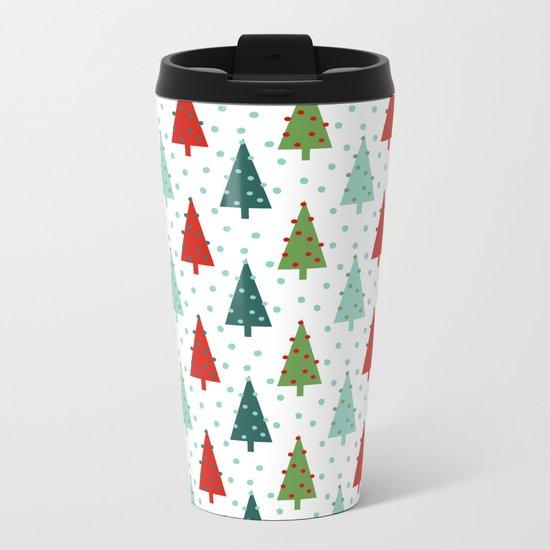Christmas Tree holiday dots snow polka dot minimal modern geometric christmas decor design Metal Travel Mug