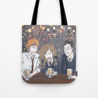 enerjax Tote Bags featuring The Golden Trio by enerjax