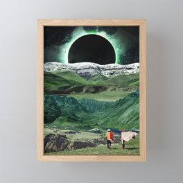 Eclipse in the green mountains Framed Mini Art Print