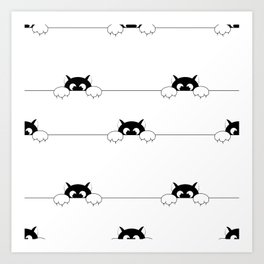 seamless pattern with black smal cat is afraid of punishment Art Print