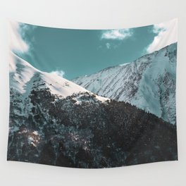Snowy Mountains Under Teal Sky - Alaska Wall Tapestry