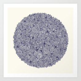 Held Together - a pattern of navy blue doodles Art Print