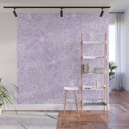 Modern trendy white floral lace hand drawn pattern on pastel lavender Wall Mural