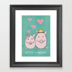 Hogs and Kisses Framed Art Print