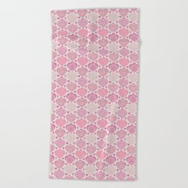 Pink Heart Valentine's Doilies Pattern Beach Towel