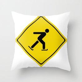 Skiing Street Sign Throw Pillow