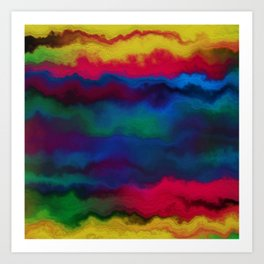 Abstract yellow pink navy blue watercolor ombre pattern Art Print