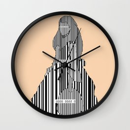 Whistler in Barcode, Harmony in Grey and Green, Peach-Orange Wall Clock