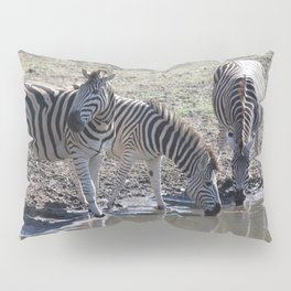 Zebra at the watering hole Pillow Sham