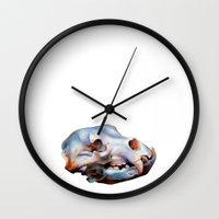 animal skull Wall Clocks featuring Animal Skull by teethbone (Tyler Snell)