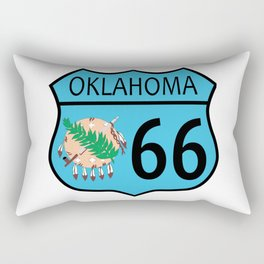 Route 66 Oklahoma sign and Flag Rectangular Pillow