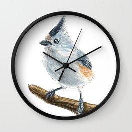 Titmouse bird watercolor Wall Clock