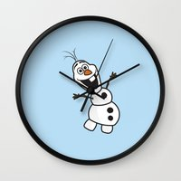 olaf Wall Clocks featuring Olaf by Mark Carrione Graphics