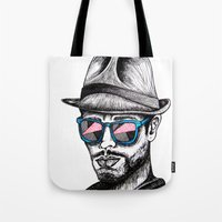 rave Tote Bags featuring Reflective Rave by Samantha J Creedon