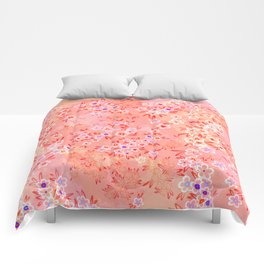 Little flowers on Living coral, peach and pink Comforters