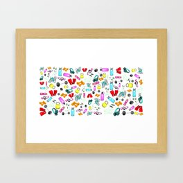 Work Out Items Pattern Framed Art Print