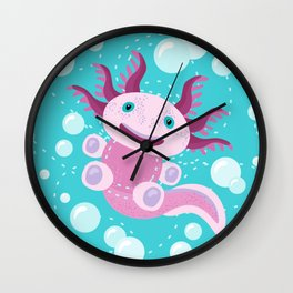 Toy Axolotl and The Bubbles Wall Clock