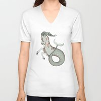 capricorn V-neck T-shirts featuring Capricorn by Vibeke Koehler