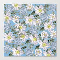 Vintage Rose Pattern Blue Canvas Print