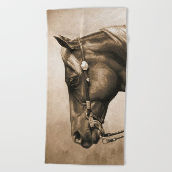 Western Quarter Horse Old Photo Effect Beach Towel
