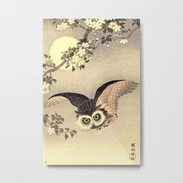 Koson Ohara - Scops Owl in Flight, Cherry Blossoms and Full Moon - Japanese Vintage Woodblock Metal Print
