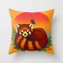 Red Panda Has Blue Butterfly Friend Throw Pillow