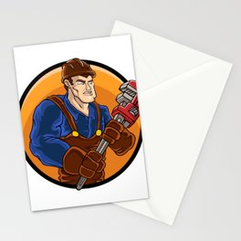strong plumber holding wrench Stationery Cards