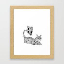 Cat / T-Rex : Happy / Not Happy Framed Art Print