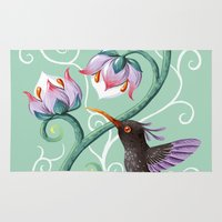 hummingbird Area & Throw Rugs featuring Hummingbird by Freeminds