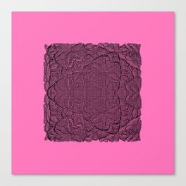 Black abstract pattern on pink bakground Canvas Print