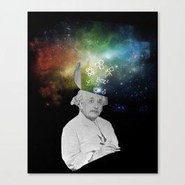 Albert Einstein With A Rainbow Galaxy Canvas Print