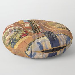 Palermo Monreale vintage 1920s Italian travel ad Floor Pillow