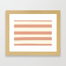 Earthen Trail Pink 4-26 Hand Drawn Fat Horizontal Lines on Dover White 33-6 Framed Art Print