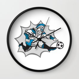 Roman Warrior Soccer Player Ball Retro Wall Clock