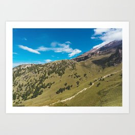 View Across the Valley Hiking up Iztaccihutal Volcano, Mexico City Art Print