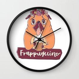 Pug Dog Frappugccino Coffee Lover Wall Clock