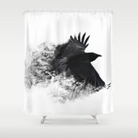 crow Shower Curtains featuring crow by Cardinal Design