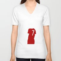 liverpool V-neck T-shirts featuring Liverpool FC Legendary No.7 Kenny Dalglish  by jt7art&design