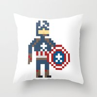 steve rogers Throw Pillows featuring Steve Rogers by Bryan