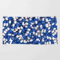 White Blue Akira Pills Beach Towel