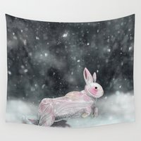 rabbit Wall Tapestries featuring White Rabbit by Ben Geiger