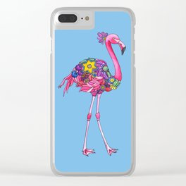 Fancy Felicity Flamingo (Blue) Clear iPhone Case
