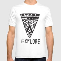 Explore Mindset SMALL White Mens Fitted Tee