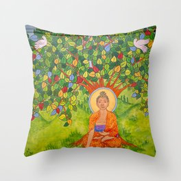 BUDDHA MURAL SM Throw Pillow